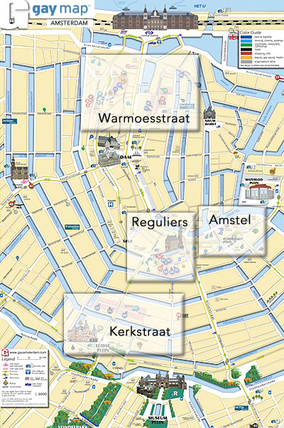 Amsterdam Gay Area's: Overview Map (c) 1995/2016 Tom Smits - click to close